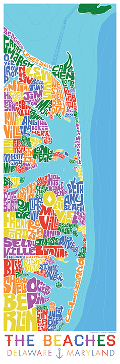 Delaware and Maryland Beaches Type Map