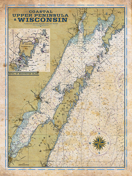 Door County, WI Vintage Nautical Map