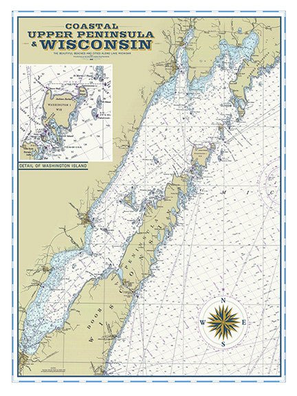 Door County, WI Vintage Nautical Map – I Lost My Dog on