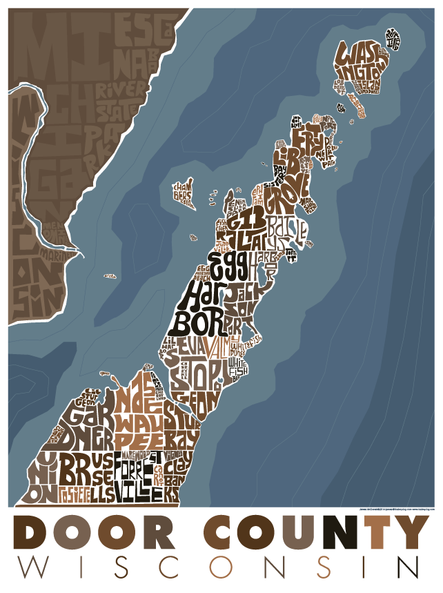 Door County WI Type Map – I Lost My Dog
