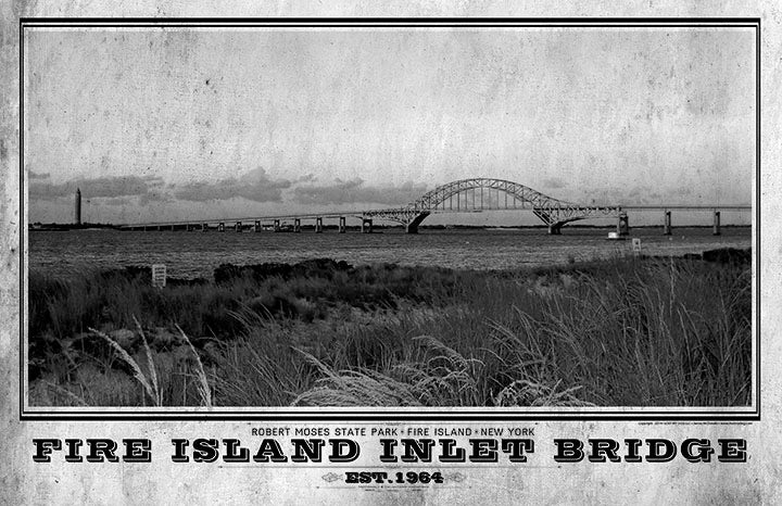Fire Island Inlet Bridge Vintage Travel Poster