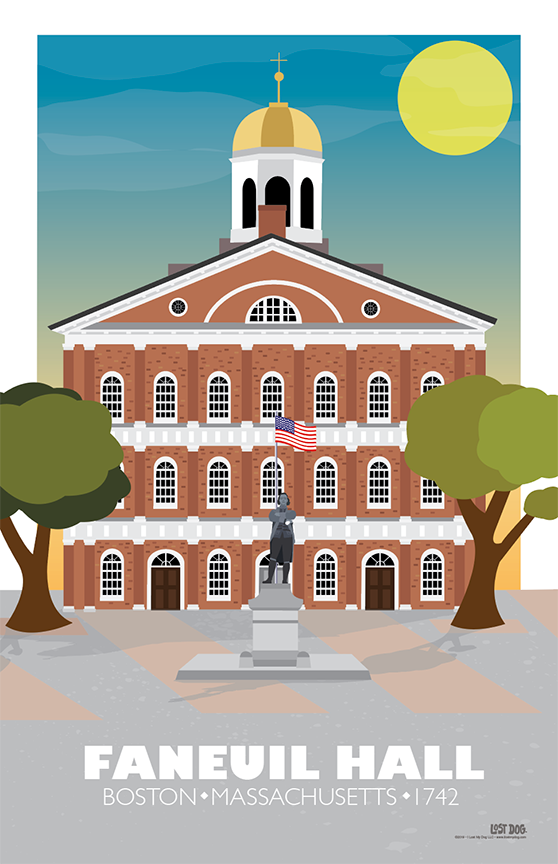 Faneuil Hall, Boston Illustration