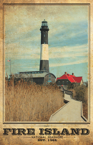 Fire Island Lighthouse Vintage Travel Poster
