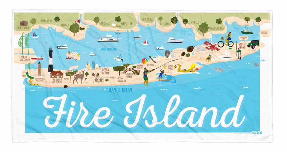 Fire Island Illustration Towel