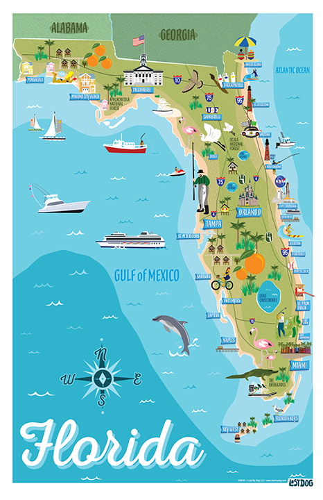 Picture Map Of Florida.Florida Illustrated Map