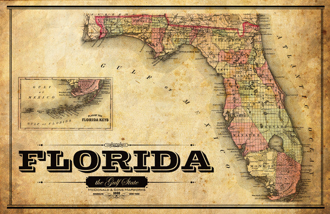 Complete Map Of Florida.Florida Vintage Remixed Map