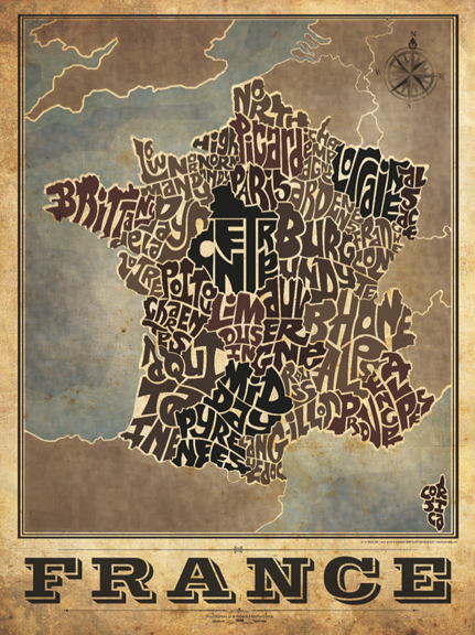 France Province Typography Map