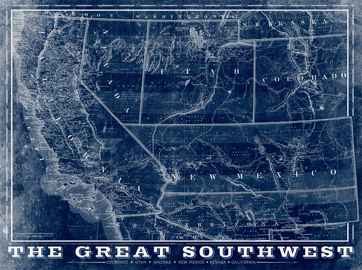 The Great Southwest Vintage Remixed Map
