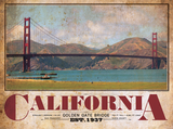 Golden Gate Bridge Span View Vintage Travel Poster