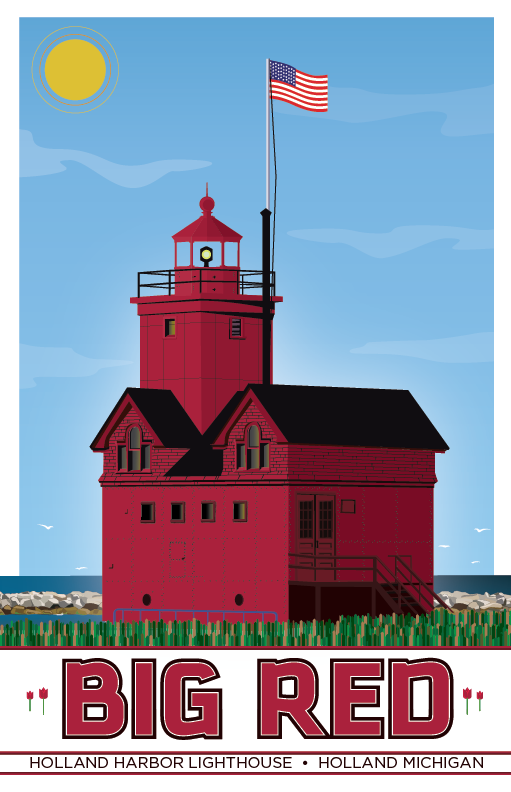 Holland Harbor Light Lighthouse Illustration