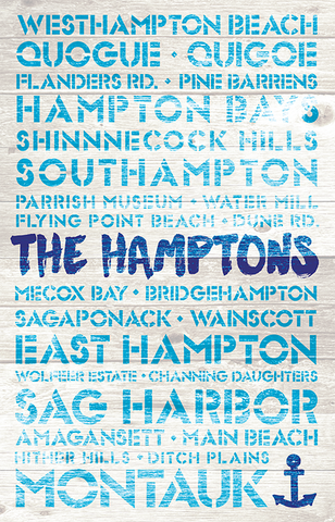 Hamptons Favorite Places Wooden Plank Replica Sign