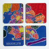 Type Map Acrylic Coaster 4 Pack Sets