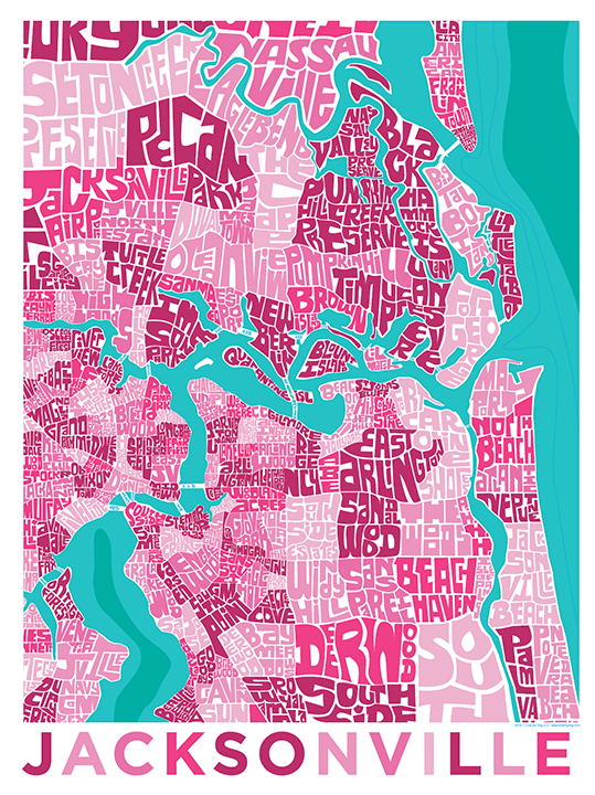 Jacksonville, Florida Typography Map