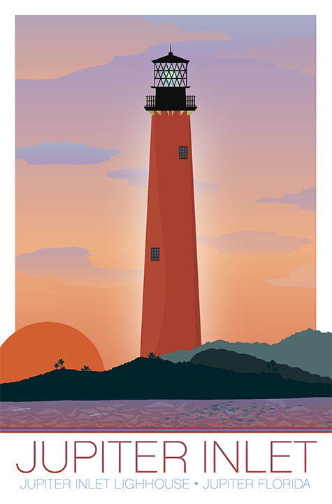 Jupiter Inlet Light Lighthouse Illustration