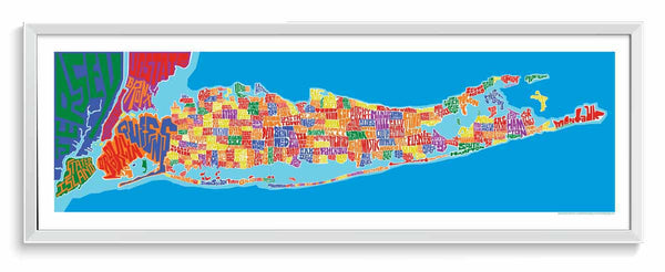 Long Island Towns Typography Map – I Lost My Dog