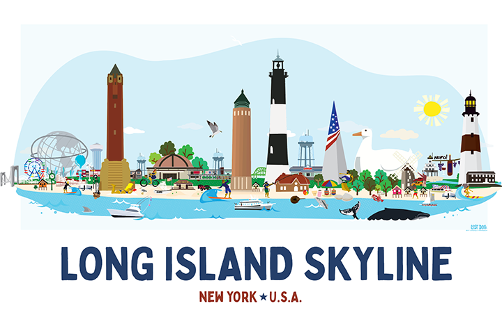 Long Island Skyline Illustration
