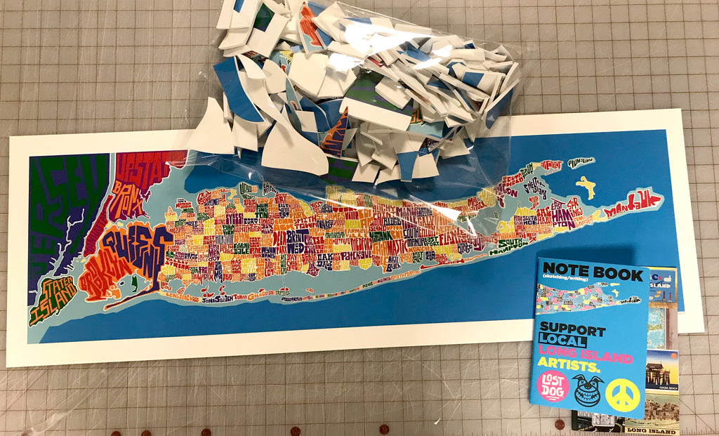 Puzzle: Long Island Typography Map