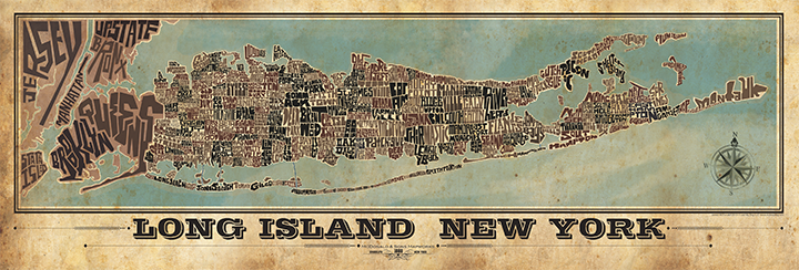Long Island Towns Typography Map