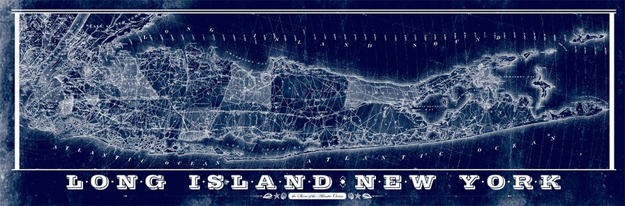 Long Island Vintage Remixed Map