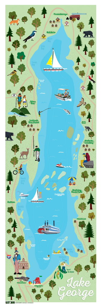 Lake George Map Illustration