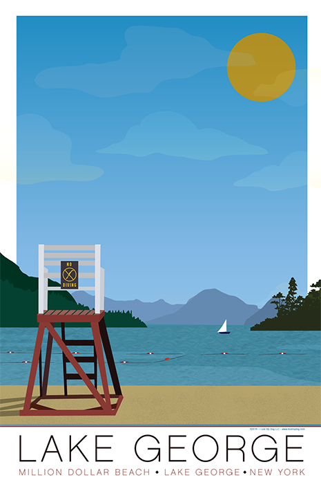 Lake George Beach Illustration
