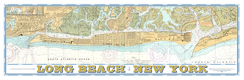 Long Beach Vintage Nautical Map