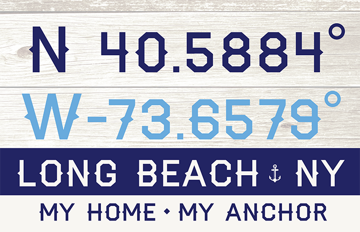 Nautical Coordinates Wooden Replica Sign