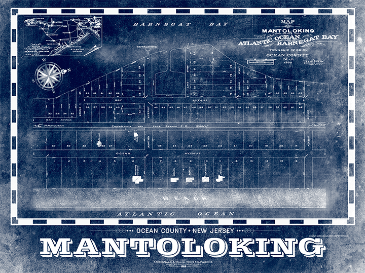 Mantoloking Vintage Remixed Map