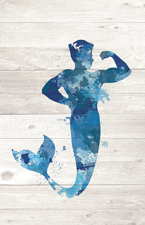 Merman Paint Splatter Silhouette