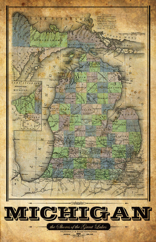 Michigan Vintage Remixed Map