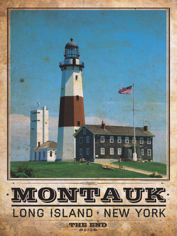 Montauk Lighthouse Vintage Travel Poster