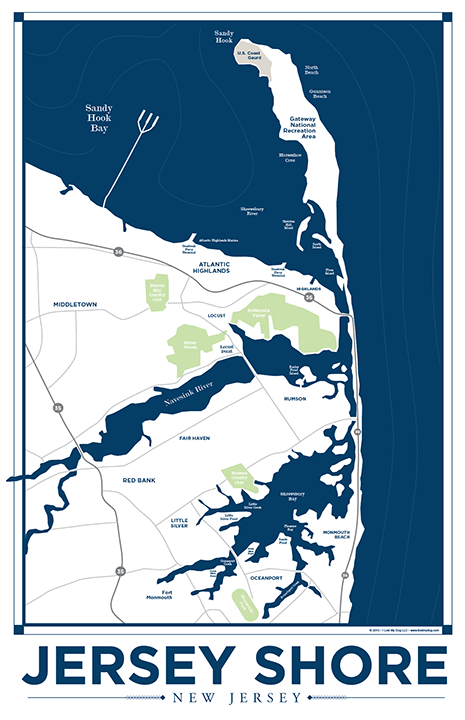Jersey Shore North, Fairhaven, Sandy Hook Area Nautical Map