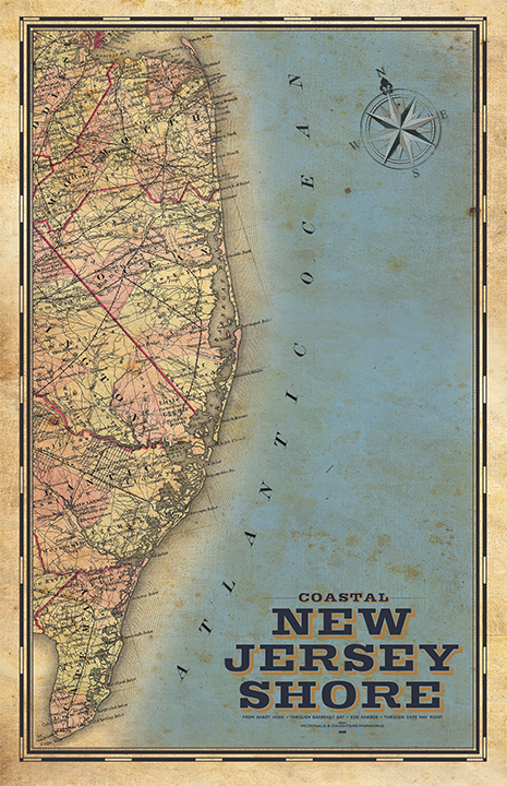 Jersey Shore Vintage Remixed Map