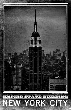 Nyc empire state building vintage travel poster