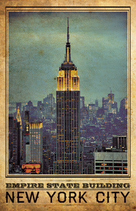 nyc empire state building vintage travel poster i lost my dog. Black Bedroom Furniture Sets. Home Design Ideas