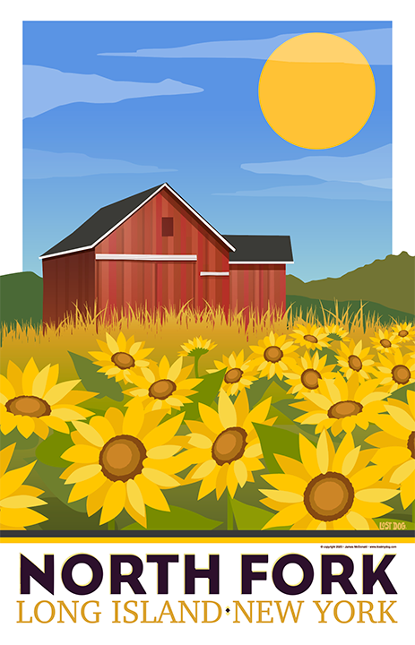 North Fork Sunflowers Illustration