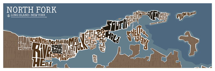 The North Fork Typography Map