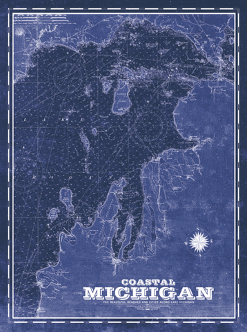 Northern Michigan Vintage Remixed Map