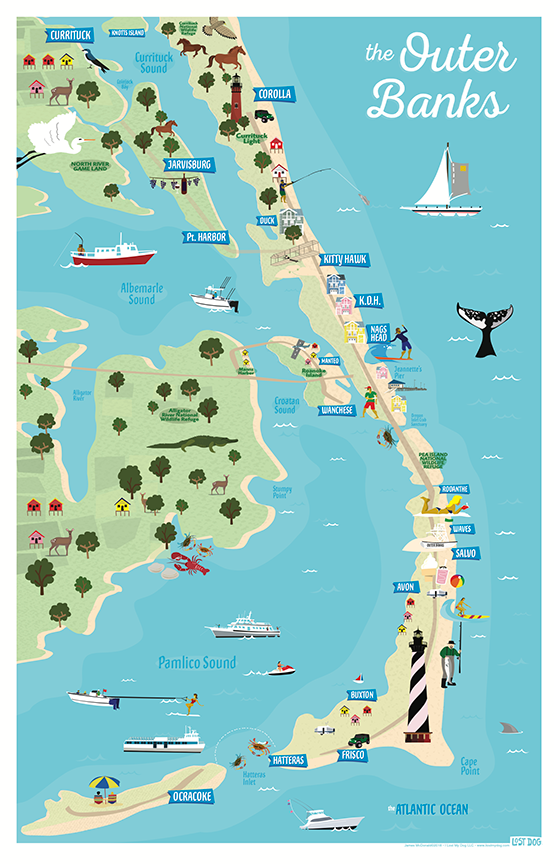 OBX Illustrated Map
