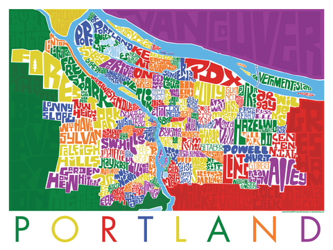 Portland Oregon Type Map Poster I Lost My Dog