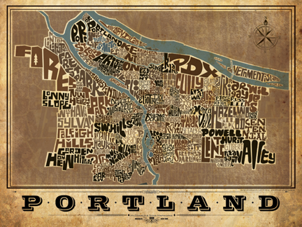 Portland Oregon Type Map Poster