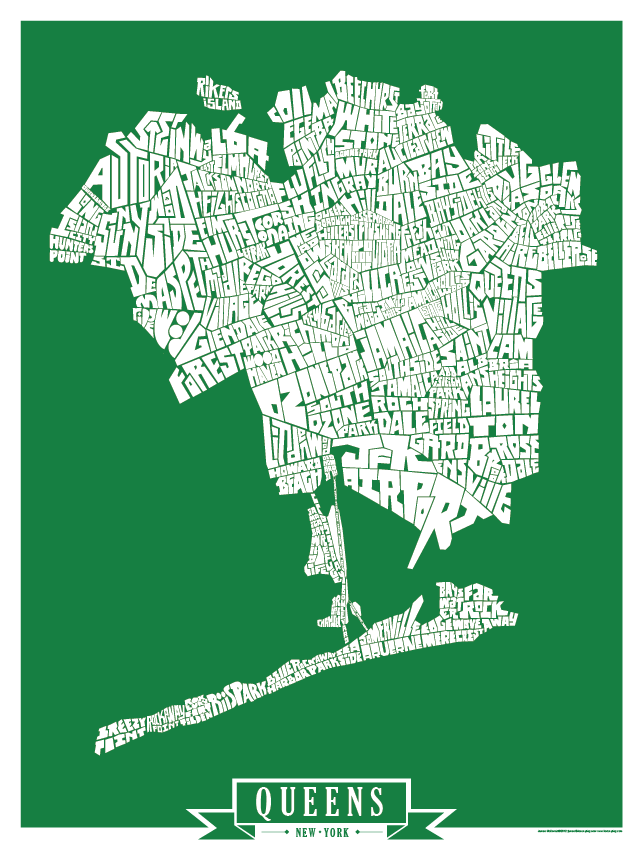 Queens Solid Colors Type Map Posters I Lost My Dog