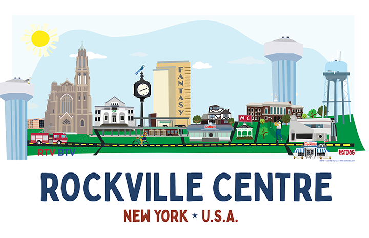 Rockville Centre Skyline Illustration