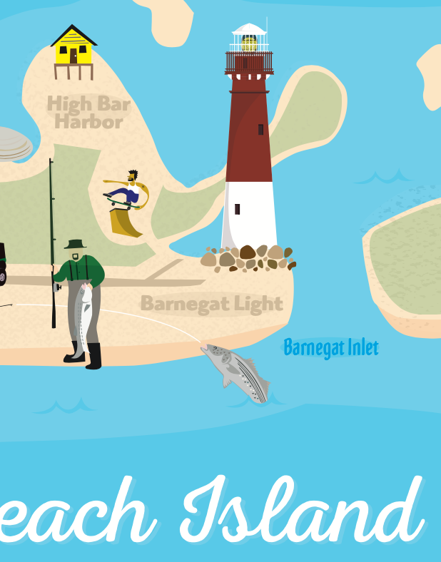 Long Beach Island New Jersey Map Illustration