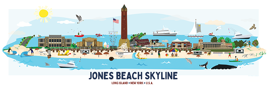 Jones Beach Skyline Illustration