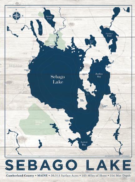 Sebago Lake Nautical Map I Lost My Dog