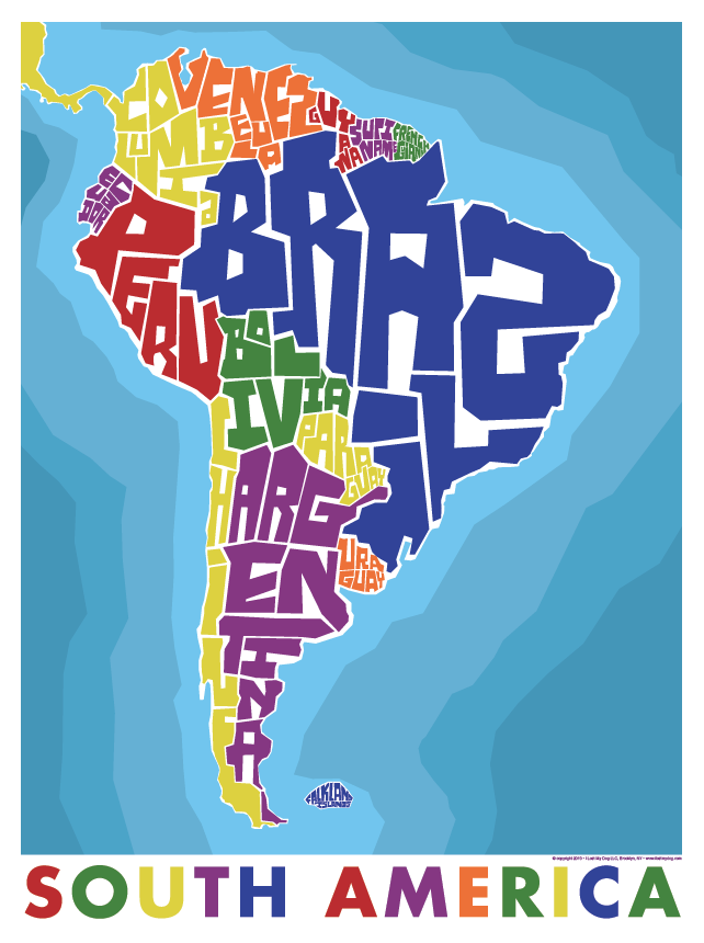 South America Countries Hand Lettered Typography Map