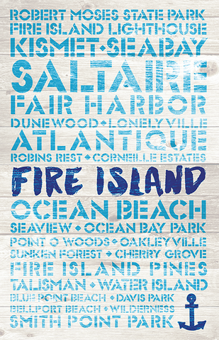 Fire Island Favorite Places Wooden Plank Replica Sign