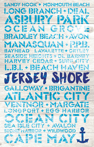 New Jersey Favorite Places Wooden Plank Replica Signs