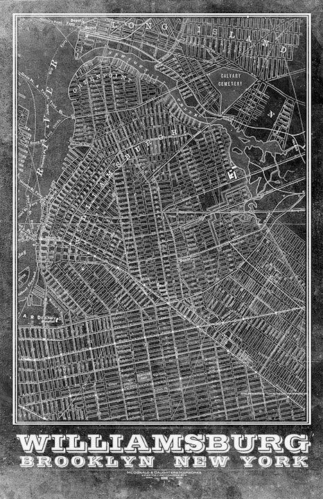 Williamsburg Brooklyn Vintage Remixed Map
